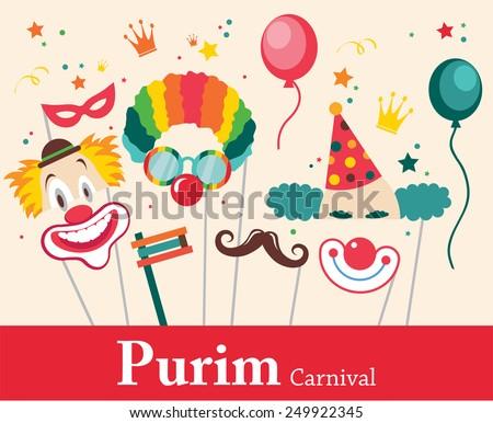 design for jewish holiday purim ...