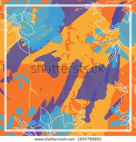 Design for silk scarf, shawl, bandana, hijab. Abstract print with floral ornaments. Photo stock ©