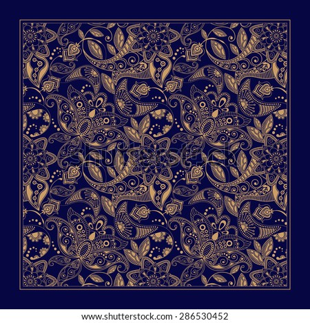 Design for square pocket, shawl, textile. Paisley floral pattern