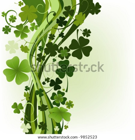 design for St Patrick's Day with four and three leaf clovers
