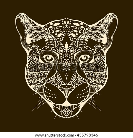 Design for your T-shirt Pattern for coloring book. Hand drawn line art of jaguar.  For tattoo art. Zentangle Doodles style.