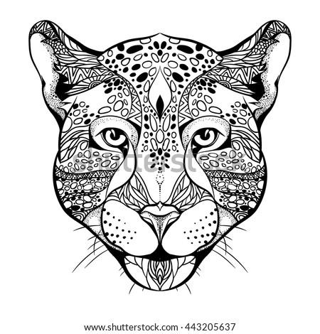 Design for your T-shirt Pattern for coloring book. Hand drawn line art of jaguar.  For tattoo art, set. Tattoo Ethnic Zentangle Doodles style.
