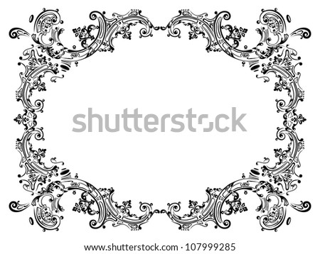 Design frame with black swirling decorative elements ornament - stock ...