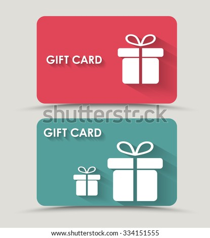 Design gift card with a box in a flat style. Vector illustration. Set