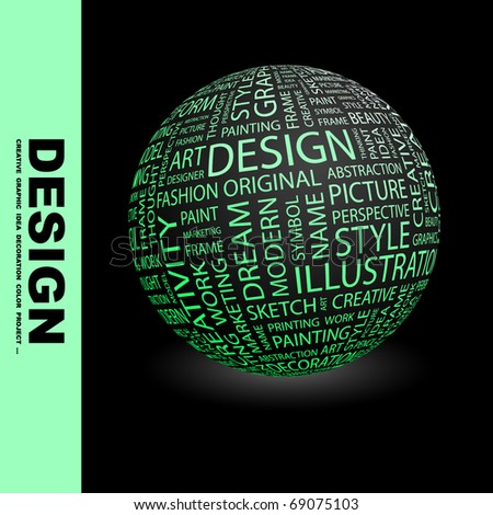 DESIGN. Globe with different association terms.