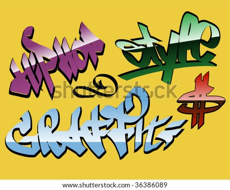 stock vector design graffiti words