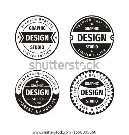 Design graphic badge logo vector set in retro vintage style. Premium quality, limited edition. Emblem template collection.