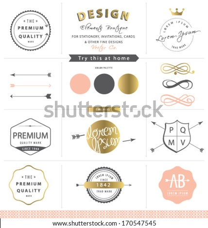 DESIGN GRAPHIC ELEMENTS. GOLD BRAND IDENTITY. For graphic design projects print , web, blog. Use as labels, stickers, brand and identity design such as logo.