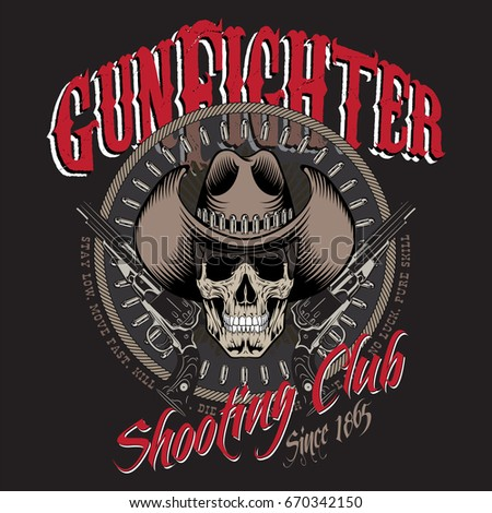 design gunfighter skull in