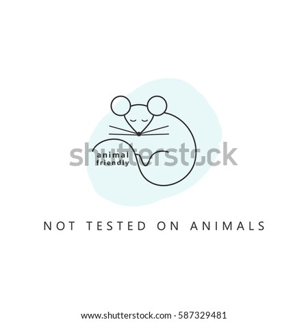 Design icon. Product  is not tested on animals. Symbol with mouse. Vector illustration line style.