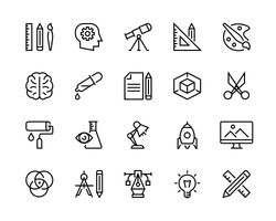 Design icon set. Collection of creativity icons such as science, thinking, searching for ideas, design creation, graphic design.  Editable vector stroke. 96x96 Pixel Perfect.