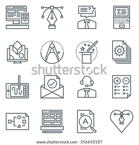 Design icon set suitable for info graphics, websites and print media. Black and white flat line icons.