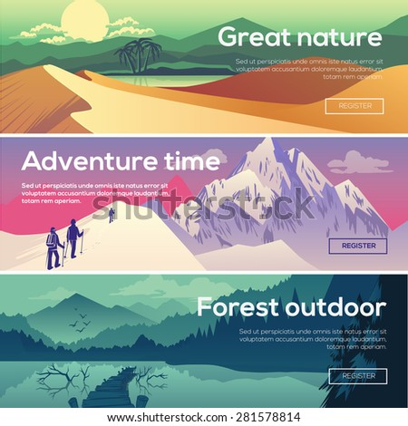 Design illustration for web design development, landscape graphics.