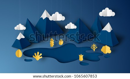 Design illustration of mountain view scene with cloud, pond and plant on 3D paper art style. paper cut and craft style. vector, illustration.