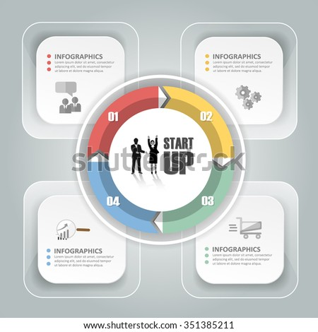 Design Infographic Template 4 Steps For Business Concept. Stock ...