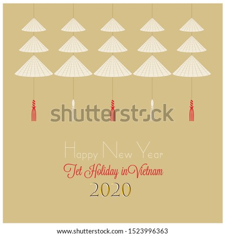Design inspired by Vietnamese Conical Hat. Non la, palm-leaf conical hat, is a traditional symbol of Vietnamese people. Tet holiday greeting card, traditional souvenir, envelope, calendar.
