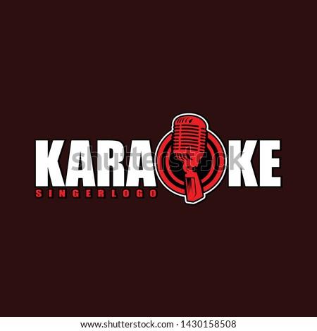 Design label vector karaoke club. Label illustration of karaoke music club