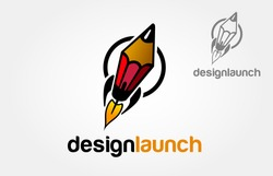 Design Launch Vector Logo Cartoon. Creative Rocket in circle. Vector Logo Template. Isolated Pencil-Rocket Illustration.