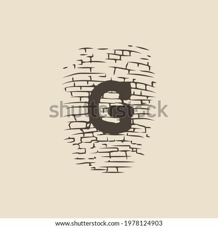 DESIGN Logo G with natural symbol brick shape Stock fotó ©