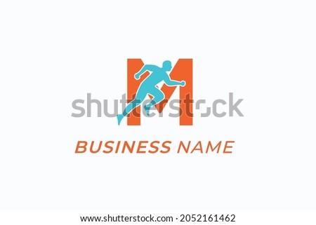 design logo sport runner and letter M Stock fotó ©