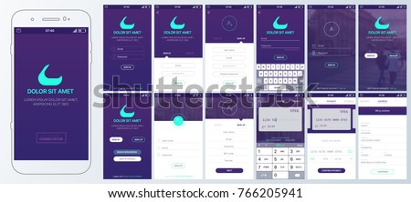 Design Mobile App login. UI, UX and GUI layout. Set of user registration screens, account sign in, sign up . Screen with the input of bank card data for mobile apps and Responsive Website.