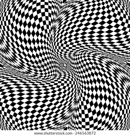 stock-vector-design-monochrome-motion-illusion-checkered-background-abstract-twisted-torsion-backdrop-vector