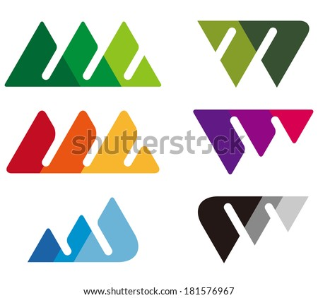 Design mountain logo element. Crushing abstract triangle pattern. Colorful icons set. A, m, w and V letter set.  Stock fotó ©