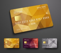 Design of a credit (debit) bank card with a gold, bronze and silver polygonal abstract background. Template for presentation. Vector illustration