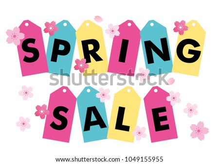 Design of a price tag written as spring sale,Illustration of spring bargain sale image, template, background design