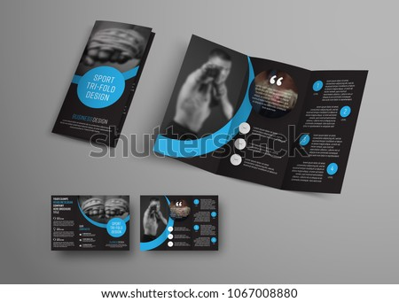 Design of a vector folding brochure with round blue elements and a place for the image. A template of a black universal flyer, a booklet for business, sports.