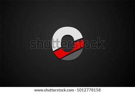 Design of alphabet letter logo o with red white and black color icon for a company or business