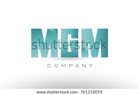 Design of alphabet 3 three letter mgm m g m with green gradient color suitable as a logo for a company or business