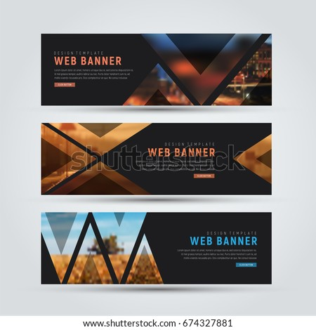 Design of black horizontal web banners. Templates of standard size with triangles for a photo. Vector illustration. Set #674327881