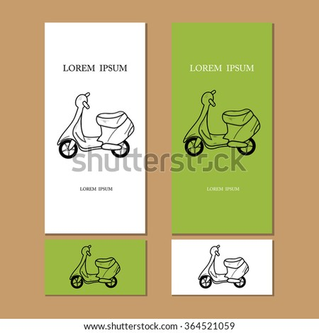Design of cards, moped. Travel, holiday