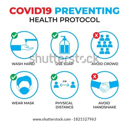 Design of covid19 preventing health protocol Foto stock ©