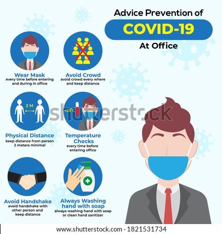 Design of Covid-19 Preventing Health Protocol at Office Foto stock ©