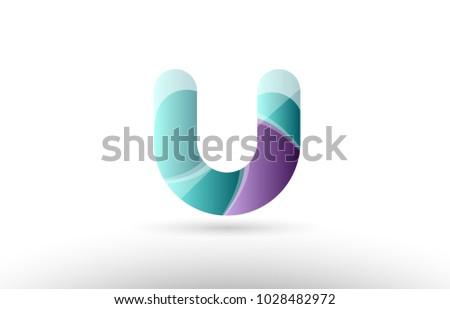 design of 3d alphabet letter u