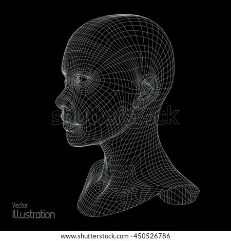 design of 3d wireframe head