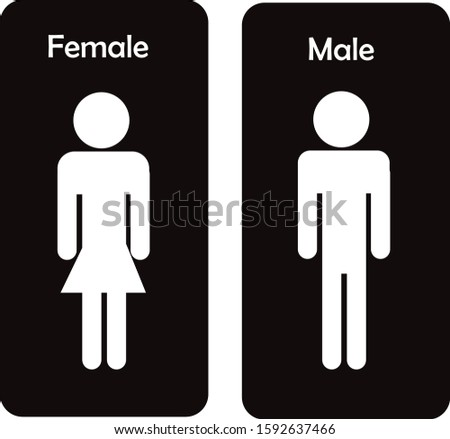 Design of female and male icon on white background for toilet. Female and male icon modern symbol for graphic and web design. Female and male vector illustration simple sign for logo, web, app, UI.