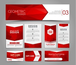 Design of flyers, banners, brochures and cards with red polygonal elements. Corporate Identity, Advertising printing. Vector illustration. Set