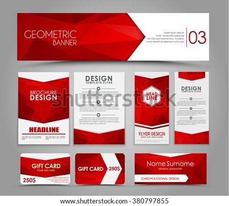 Design of flyers, banners, brochures and cards with red polygonal elements. Corporate Identity, Advertising printing. Vector illustration. Set - Shutterstock ID 380797855