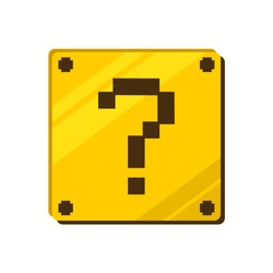 Design of golden block with question mark symbol