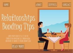 Design of landing page template for relationship bonding tips app. Young couple together on romantic date or family holiday in cafe or restaurant. Vector flat illustration.