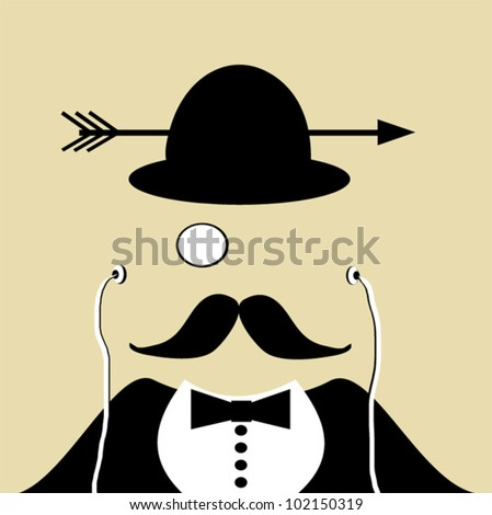 design of man wearing earphones and monocle with arrow through bowler hat