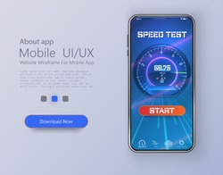 Design of mobile app, UI, UX, GUI. Internet speed test smartphone interface vector template. Mobile app page blue design layout. Wifi, mobile internet booster screen. Button start test speed internet.