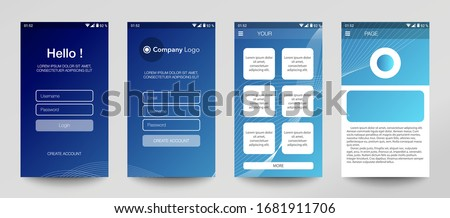 Design of mobile app, UI, UX, GUI. Set of user registration screens with login and password input, account sign in, sign up, home page. Modern Style. Minimal Application. UI Design Template. Interface