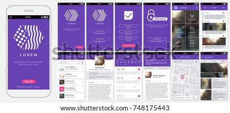 Design of mobile app, UI, UX, GUI. Set with a welcome window, registration, home page, news search, concept chat Messenger and settings