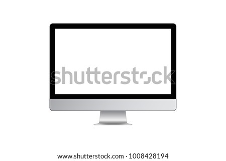 Design of modern computer iMac company Apple. With a blank screen. Outline. This templates for presenting designs. Flat stock vector illustration. EPS 10