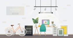 Design of modern home office designer workplace. Creative office workspace with bicycle, desktop, artist equipment in room interior. Vector illustration in flat minimalistic design, website banner