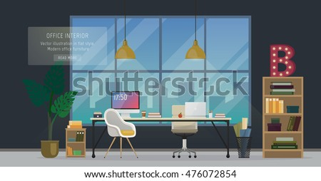 Design of modern office designer workplace. Creative office workspace with big window, desktop, modern monitor, furniture in interior. Vector illustration in flat minimalistic design, website banner